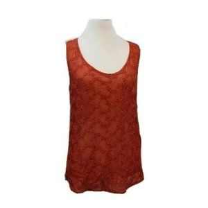 Lucky Brand Red Sheer Embroidered Tank Top S